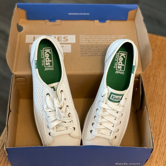 Keds white leather shoes